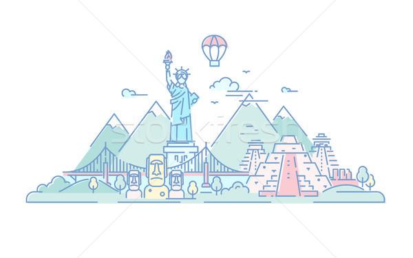 América vetor linha viajar ilustração moderno Foto stock © Decorwithme