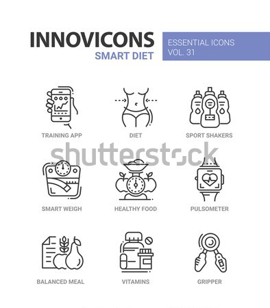 Diet - modern color vector single line icons set Stock photo © Decorwithme