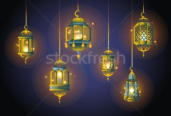 Ramadan lichten realistisch vector ingesteld objecten Stockfoto © Decorwithme