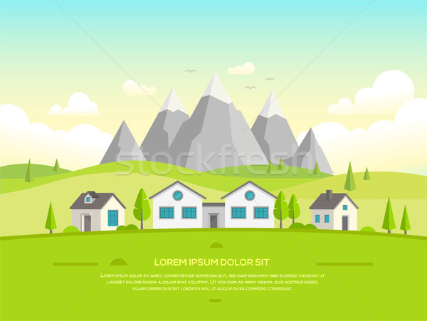 Small houses by the mountains - modern vector illustration Stock photo © Decorwithme