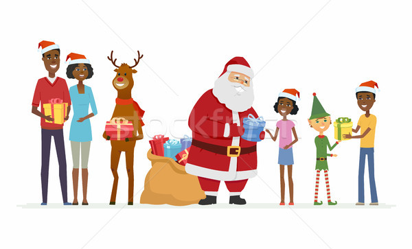 Santa with compaions congratulate African family - cartoon characters isolated illustration Stock photo © Decorwithme