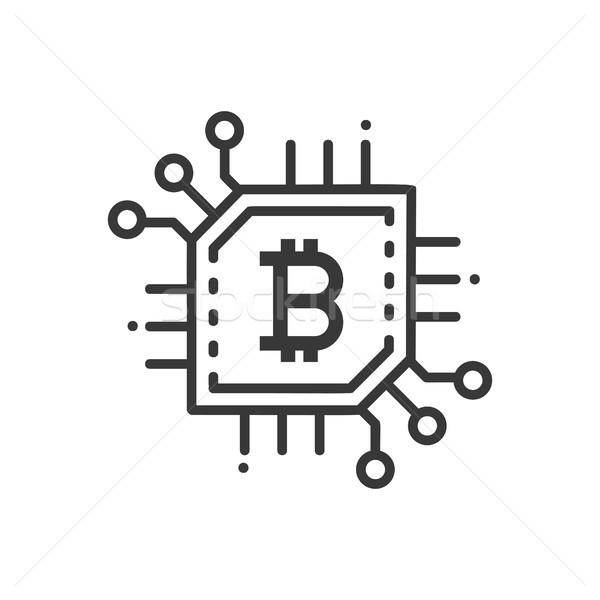 Bitcoin línea diseno aislado icono blanco Foto stock © Decorwithme