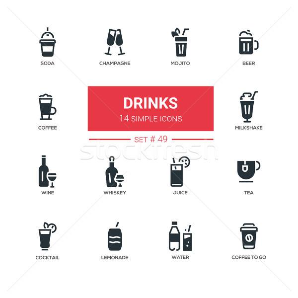 żywności alkoholu miękkie napojów line projektu Zdjęcia stock © Decorwithme