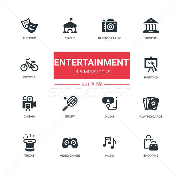 Stock fotó: Szórakoztatás · vonal · terv · ikon · szett · színház · fotózás