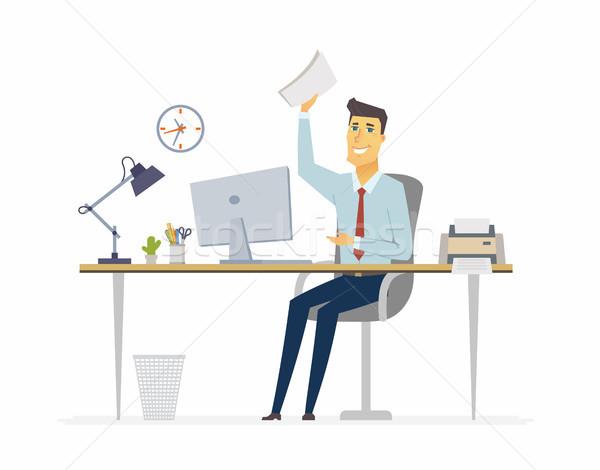 Boldog irodai dolgozó modern rajzolt emberek betűk illusztráció Stock fotó © Decorwithme
