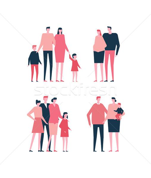 ストックフォト: 家族 · デザイン · スタイル · セット · 孤立した