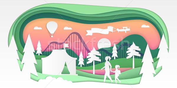Funfair - vector paper cut illustration Stock photo © Decorwithme