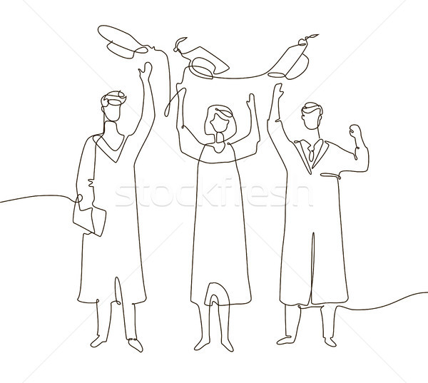 Stock photo: Happy graduating students - one line design style illustration