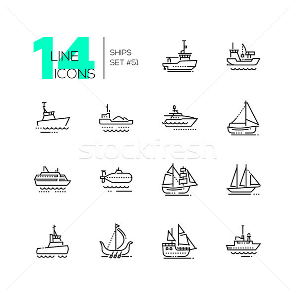 Water transport - thin line design icons set Stock photo © Decorwithme