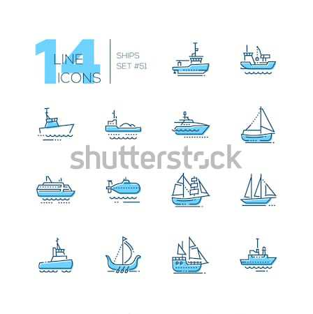 Water transport - colorful line design icons set Stock photo © Decorwithme