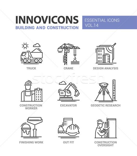 Gebouw bouw lijn ontwerp iconen moderne Stockfoto © Decorwithme
