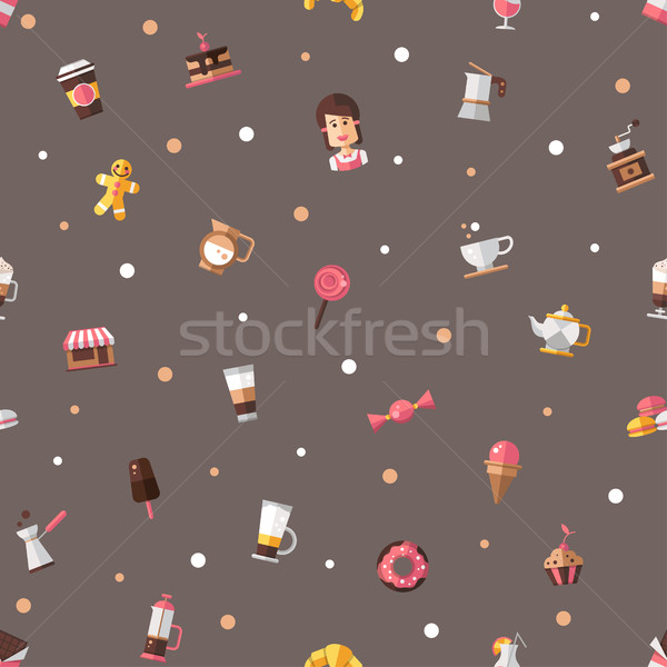 Pattern of modern flat design coffee-shop, cafe & bakery icons. Stock photo © Decorwithme