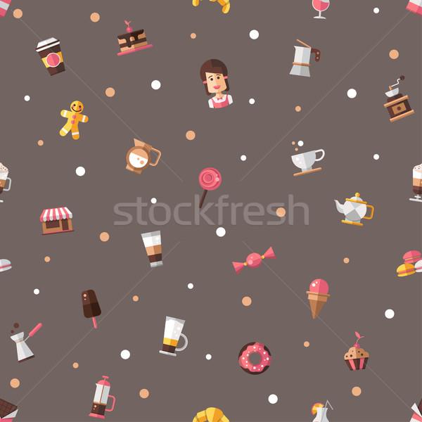 Wzór nowoczesne projektu Kafejka piekarni ikona Zdjęcia stock © Decorwithme