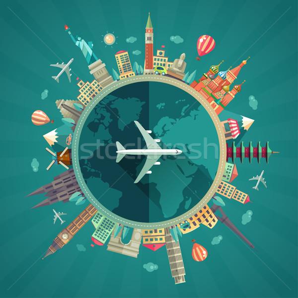 Travel around the world flat design illustration Stock photo © Decorwithme