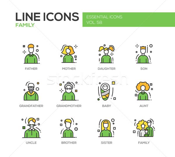 Family - line design icons set Stock photo © Decorwithme