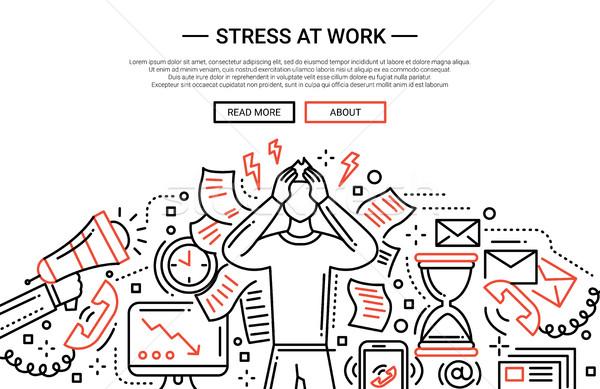 Stress at work - line flat design website banner Stock photo © Decorwithme