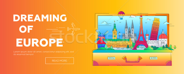 Dreaming of Europe - flat design web banner with landmarks Stock photo © Decorwithme