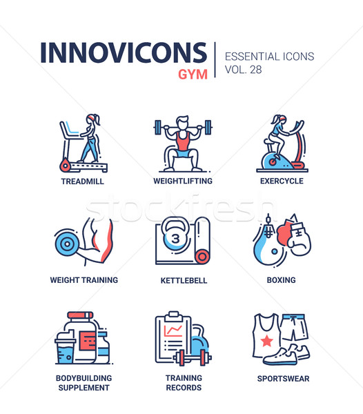 Gym - modern color vector single line icons set Stock photo © Decorwithme