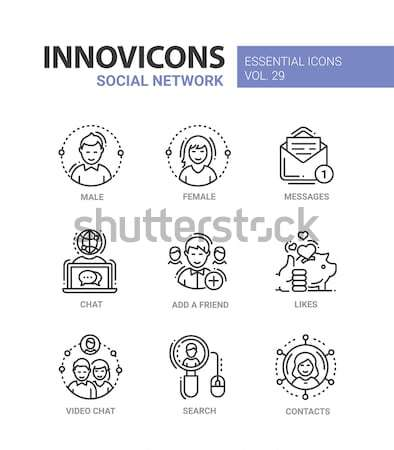 Social Network - modern vector line icons set Stock photo © Decorwithme