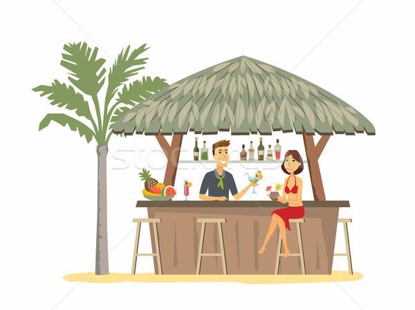Kobieta plaży bar charakter odizolowany Zdjęcia stock © Decorwithme