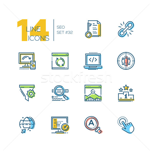 SEO - set of line design style icons Stock photo © Decorwithme