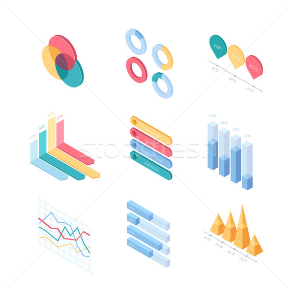 Infographic charts and diagrams - set of modern vector isometric elements Stock photo © Decorwithme