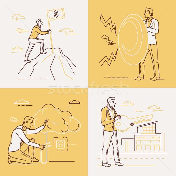 Estrategia de negocios establecer línea diseno estilo ilustraciones Foto stock © Decorwithme