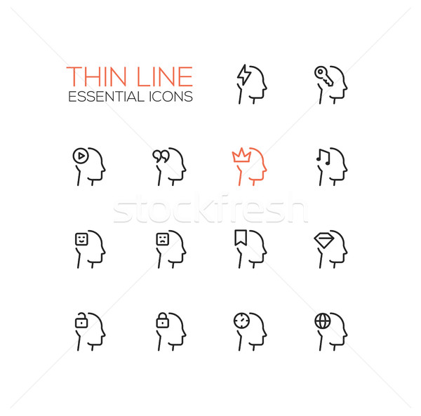 Pensées léger ligne signes modernes Photo stock © Decorwithme