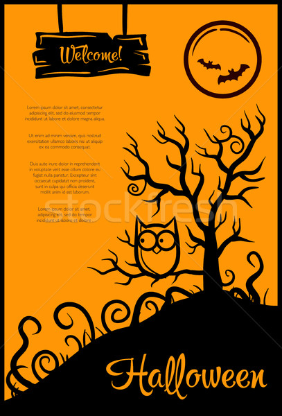 Stock photo: Illustration of retro graphical poster with Halloween elements