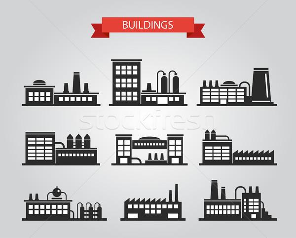 Design industrielle bâtiments pictogrammes vecteur Photo stock © Decorwithme