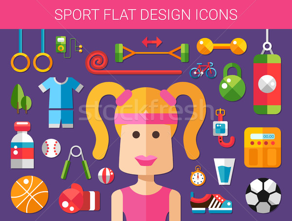 Set of modern flat design sport, fitness and healthy lifestyle i Stock photo © Decorwithme