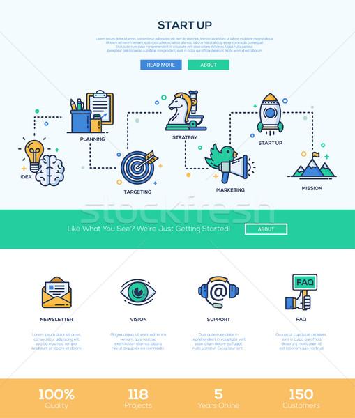 ストックフォト: ビジネス · 開始 · アップ · 行 · デザイン · バナー