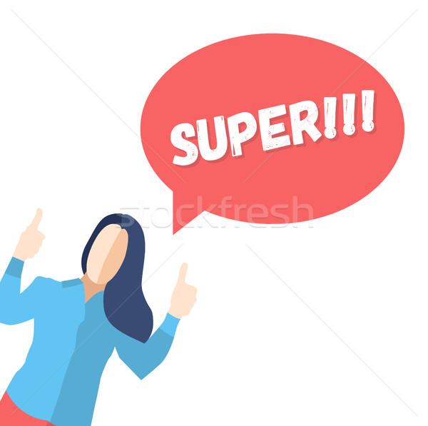 ストックフォト: 女性 · ポーズ · 喜び · ことわざ · スーパー