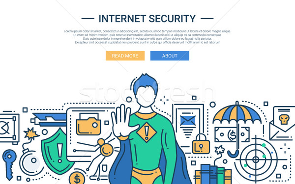 Internet Security - line design website banner Stock photo © Decorwithme