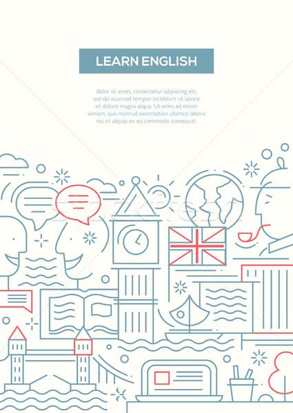 Education composition - line flat design banner Stock photo © Decorwithme