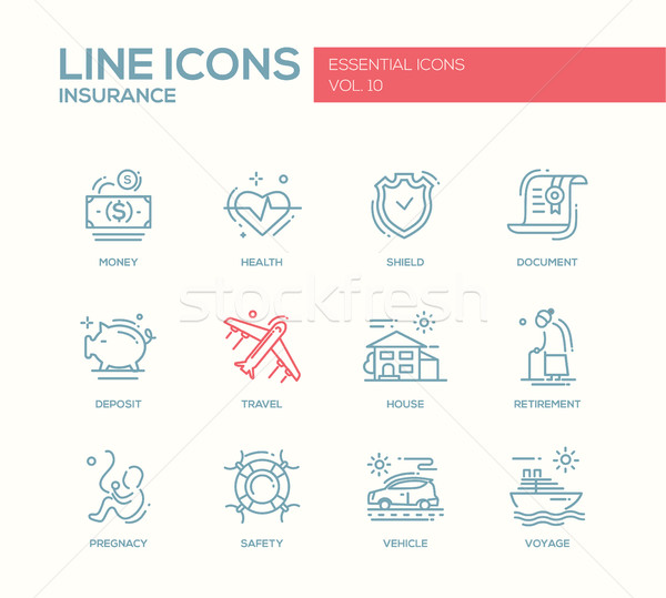 Types of Insurance - line design icons set Stock photo © Decorwithme