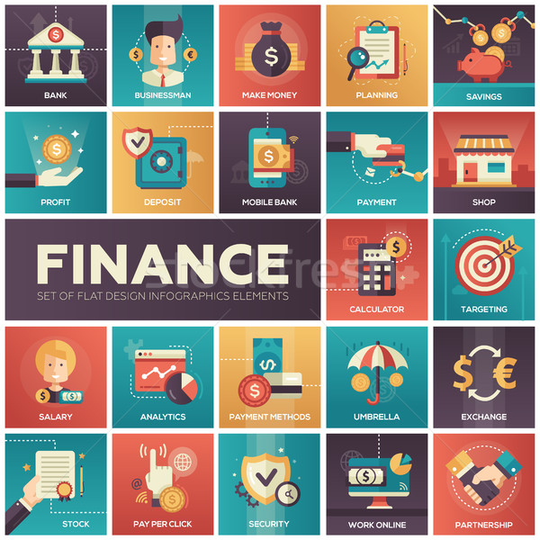 Stock photo: Finance - modern flat design isquare icons