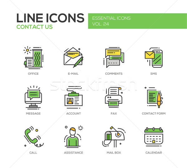 Contact Us - line design icons set Stock photo © Decorwithme