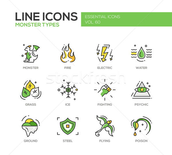 Monsters Sypes - line design icons set Stock photo © Decorwithme
