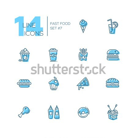 Kinds of Food Cafe Menu Line Icons Set Stock photo © Decorwithme