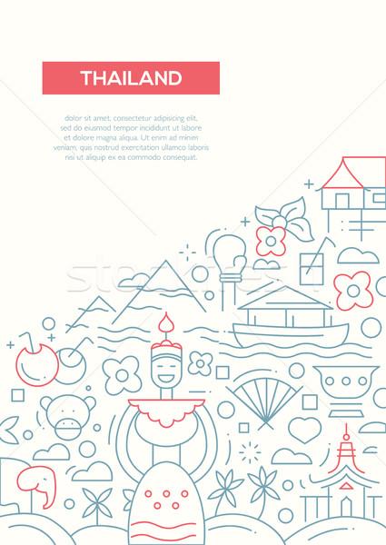 Stock fotó: üdvözlet · Thaiföld · vonal · terv · brosúra · poszter