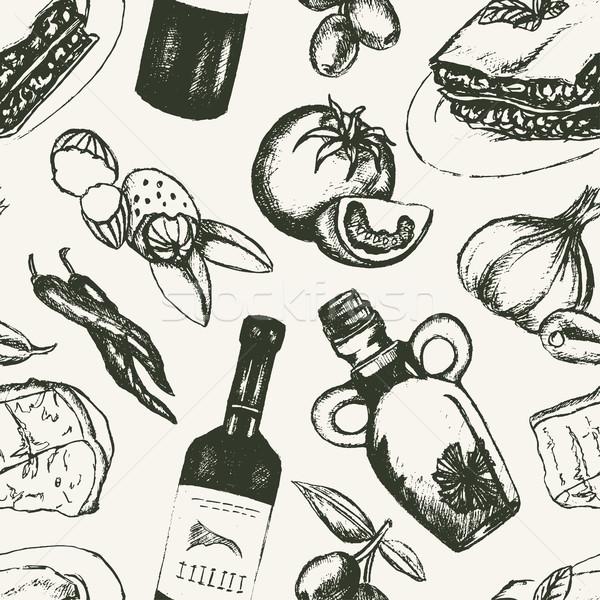 Italian Food - black and white hand drawn seamless pattern Stock photo © Decorwithme
