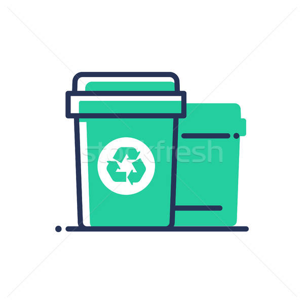 Recycle bin - modern vector single line icon Stock photo © Decorwithme