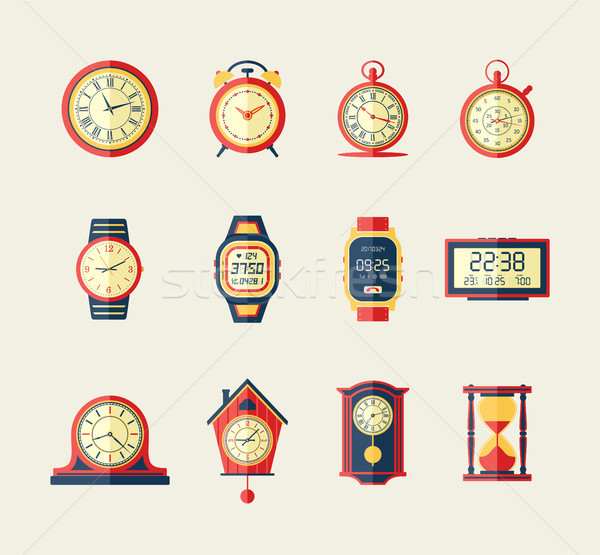 Clocks and Watches - modern vector flat design icons set. Stock photo © Decorwithme