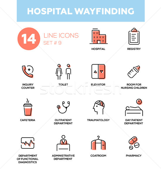 Hospital wayfinding - Modern simple thin line design icons, pictograms set Stock photo © Decorwithme