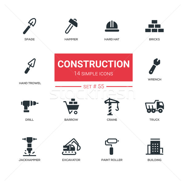 Industrial concept, construction - line design icons set Stock photo © Decorwithme