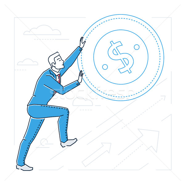 Businessman earning money - line design style isolated illustration Stock photo © Decorwithme