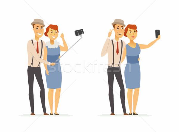 Pár készít rajzolt emberek karakter izolált illusztráció Stock fotó © Decorwithme