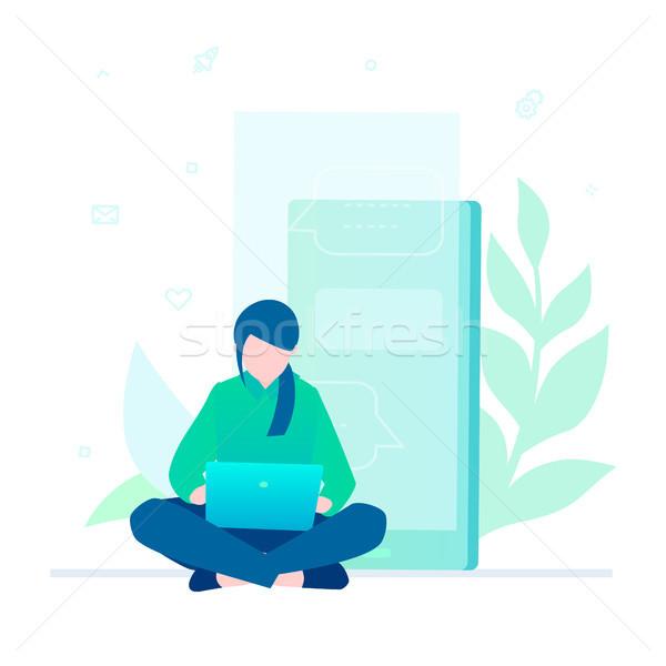 Foto stock: Mulher · trabalhando · laptop · projeto · estilo · colorido