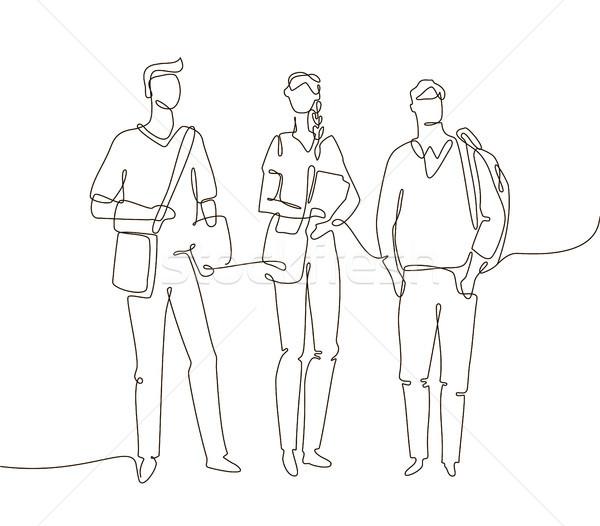 Studentów jeden line projektu stylu ilustracja Zdjęcia stock © Decorwithme